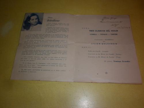 violin antiguo programa  de concierto 1949
