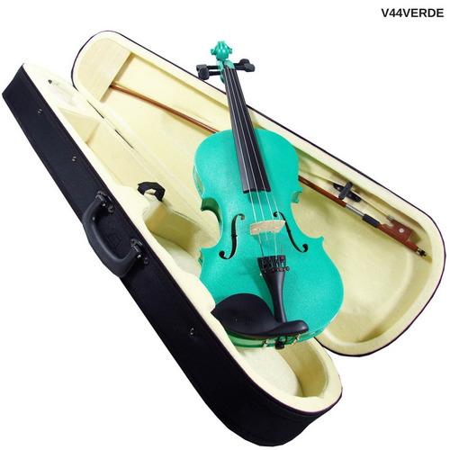 violín de 4/4 verde madera triplay con estuche audiomex