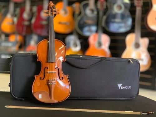 violino acústico luxo 4/4 ve441 eagle bag breu arco cavalete