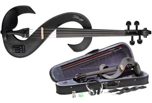 violino stagg evn 4/4 preto eletroacústico + breu + estojo