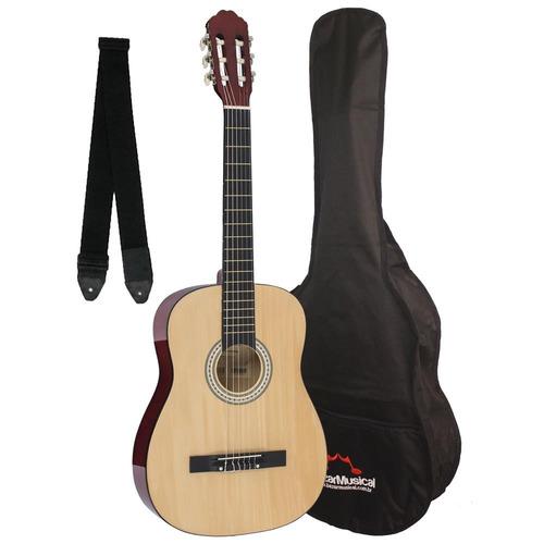 violão adulto barato com capa + alça acústico estudo nylon
