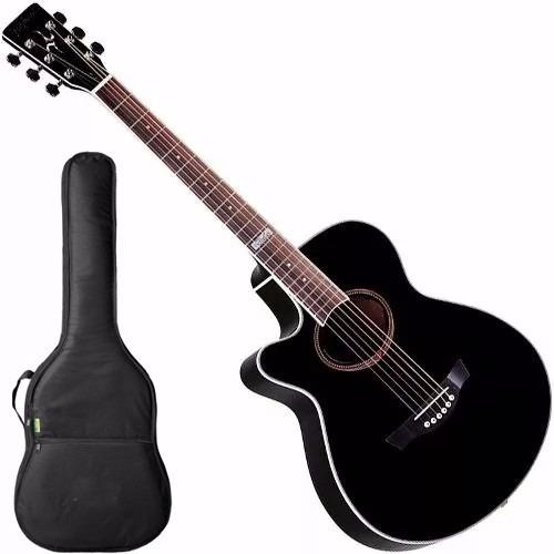 violão canhoto aço tagima dallas tunner cor preto c afinador
