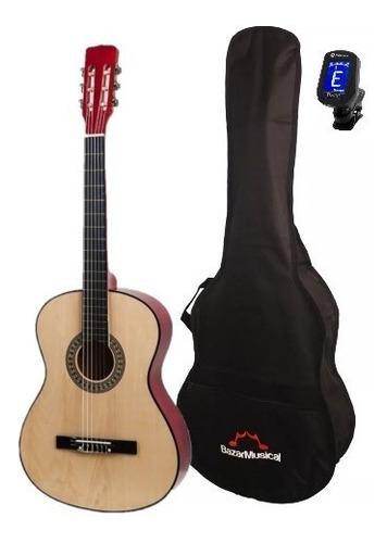 violão com capa e afinador nylon estudo acústico simples