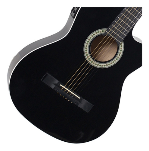 violão elétrico flat fino sf14 bk aço afinador giannini