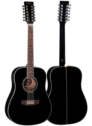 violão elétrico folk aço he215e12 bk 12 cordas hofma