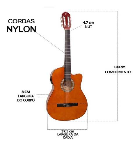 violão elétrico giannini flat nf14 natural nylon c/ afinador