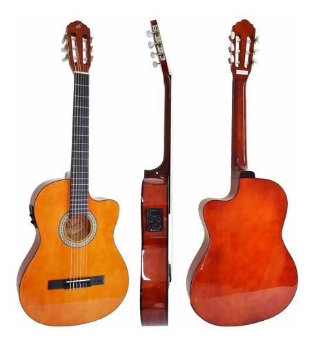 violão elétrico giannini flat nf14 natural nylon corpo fino