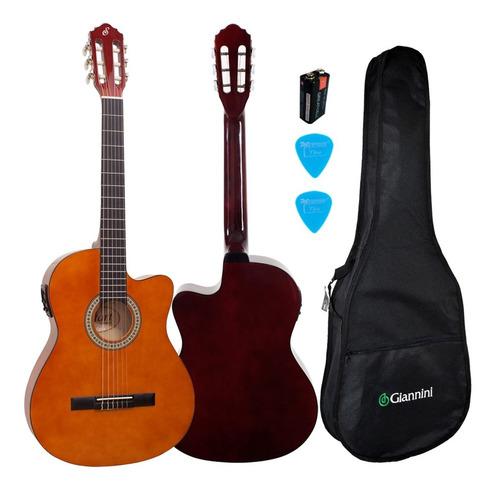 violão elétrico giannini nf14 nylon flat fino natural kit