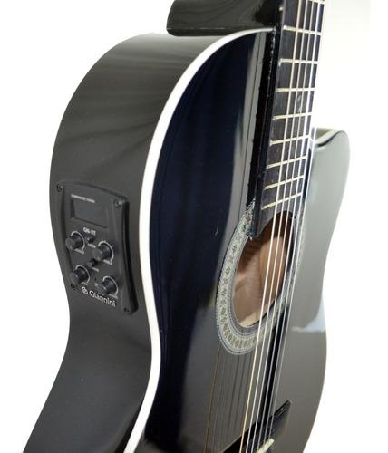 violão elétrico giannini nf14 nylon flat fino preto afinador