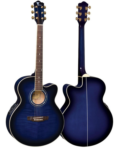violão elétrico jumbo aço ch70f blb azul eagle com afinador