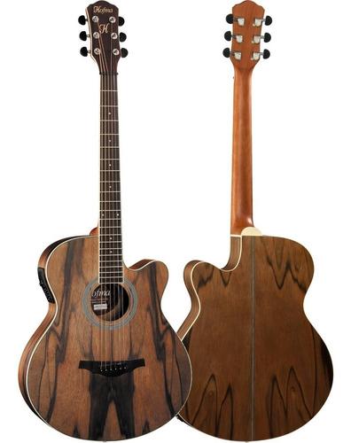 violão elétrico jumbo hmf271 satin hofma aço com afinador