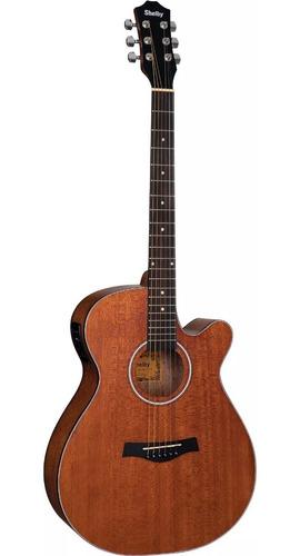 violão elétrico natural mahogany auditório cutway shelby