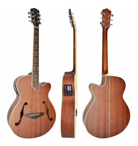 violão eletroacústico hmf240 hofma aço natural vintage