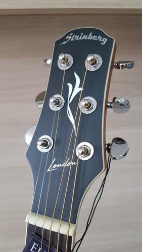 violão folk canhoto strinberg london le30 c natural fosco