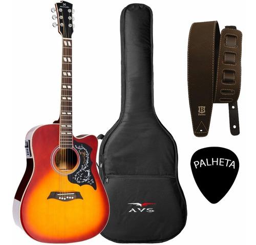 violão folk elétrico michael vm925dtc aço vin sunburst + kit