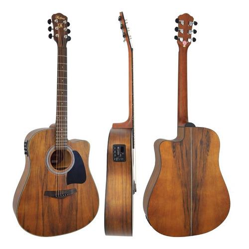 violão folk hmf270 aço eletroacústico satin natural hofma