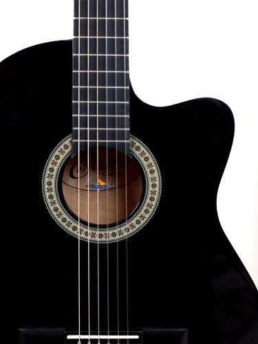 violão giannini flat elétrico nf14 bk nylon c afinador