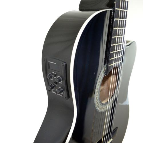 violão giannini flat elétrico nf14 bk nylon com afinador