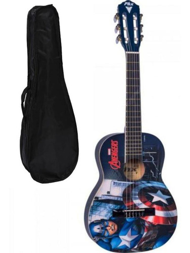 violão infantil nylon marvel capitão américa vim-c1 phx kids