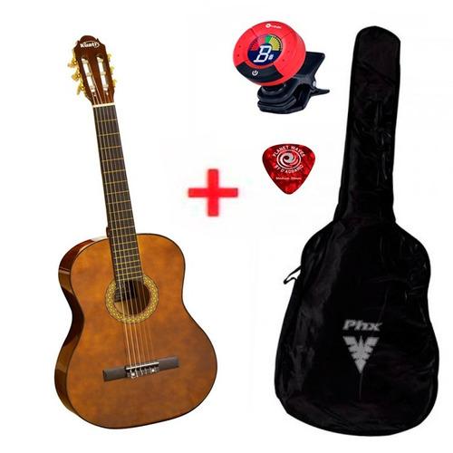 violão para iniciantes marrom ks2 + afinador + capa + palhet