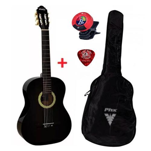 violão para iniciantes preto + afinador + capa + palheta