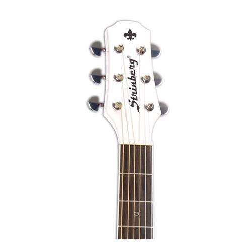 violão profissiona mini jumbo branco verniz aço afinador