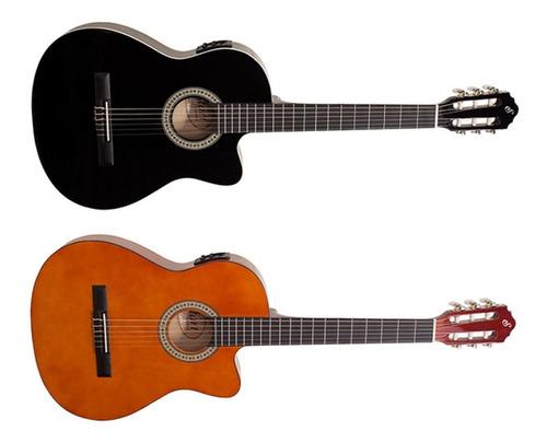 violão start elétrico nylon preto ou marrom nf14ceq giannini
