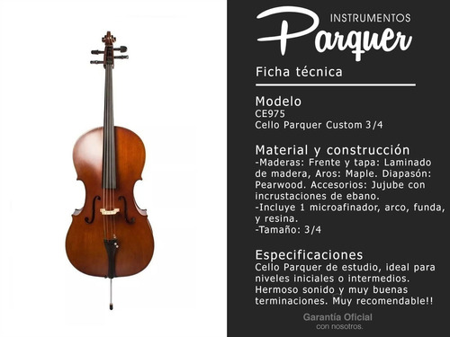 violonchelo cello parquer custom 3/4 estudio arco fund cuota