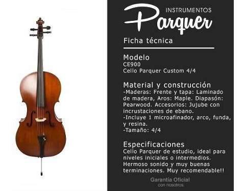 violonchelo cello parquer custom 4/4 estudio arco fund cuota