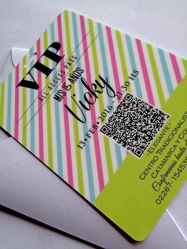 vip 15 años - invitaciones plastificadas 10x14 cm con sobre
