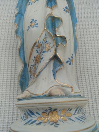 virgen francesa con niño jesús en porcelana de bisquit