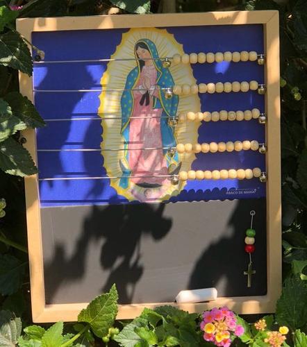 virgen guadalupe. rosario familiar de pared. ábaco de maría