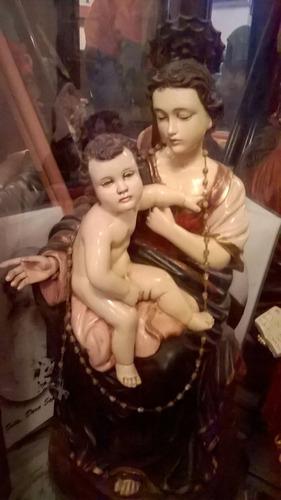 virgen maría y niño jesús escultura de madera antigua