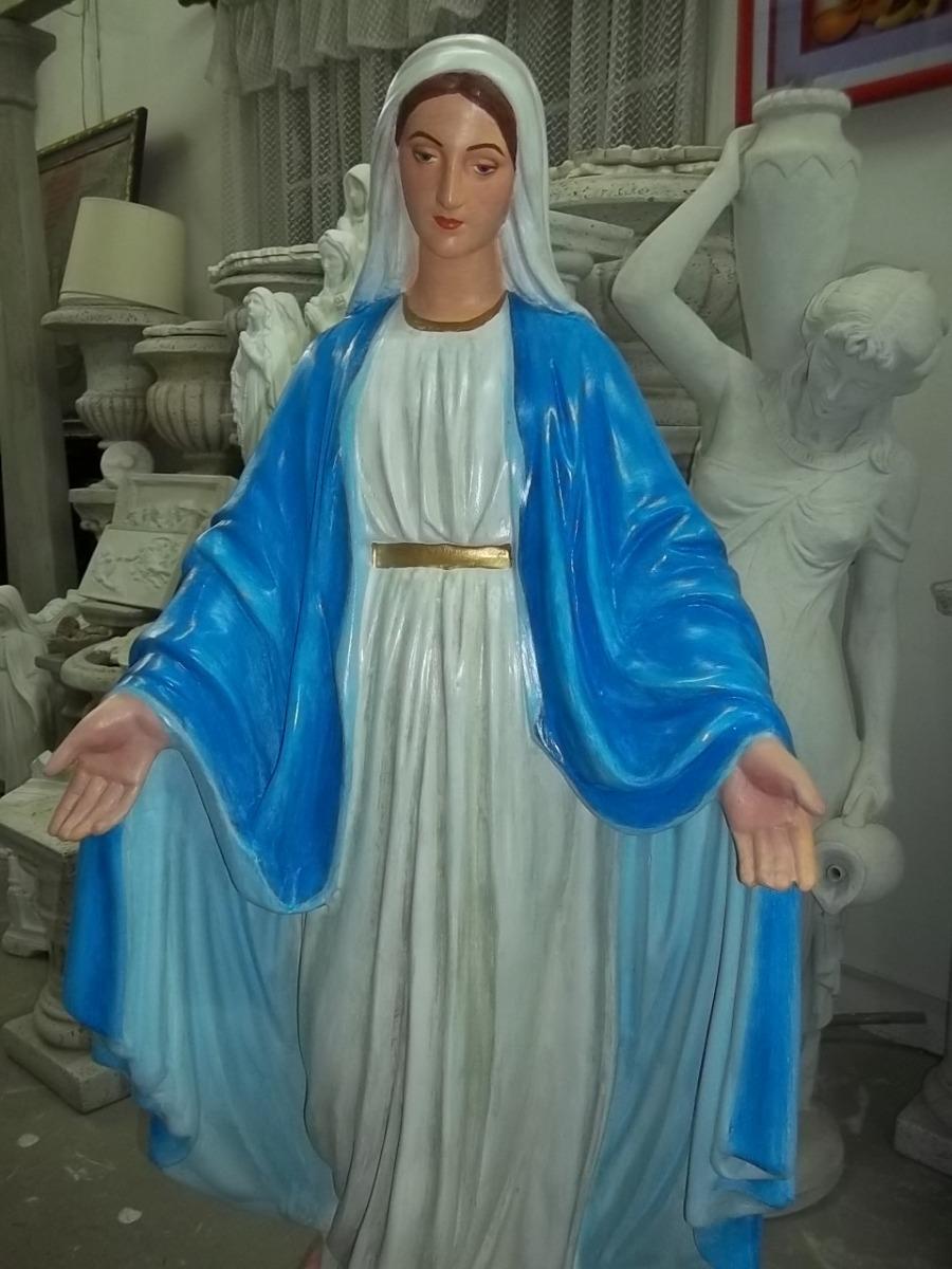 Virgen Medalla Milagrosa Pintada Cemento130 Mde Altura