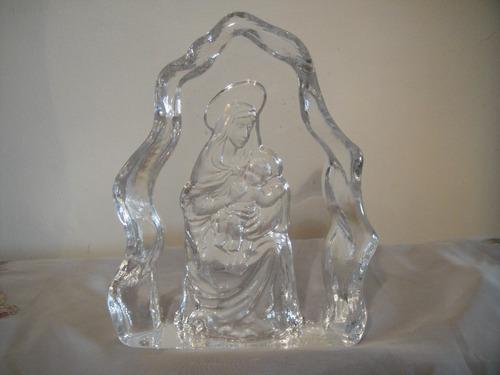virgen y el nino tallada  cristal de arques nuevo