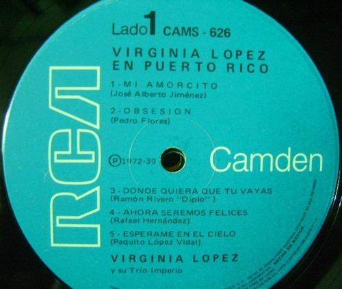virginia lopez en puerto rico  1 disco lp vinilo