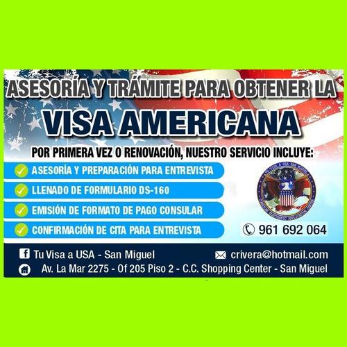 visa americana-asesoría y trámite completo -plaza san miguel