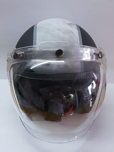 viseira bolha com flip cristal capacete old school