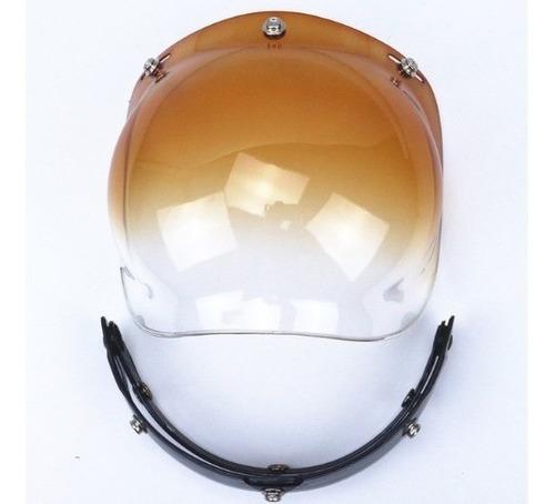 viseira vintage bubble degradê capacete aberto fumê e marrom