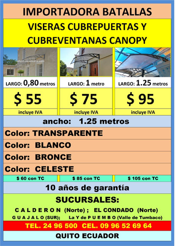 viseras canopy $ 55 instlac policarbonato alucobond