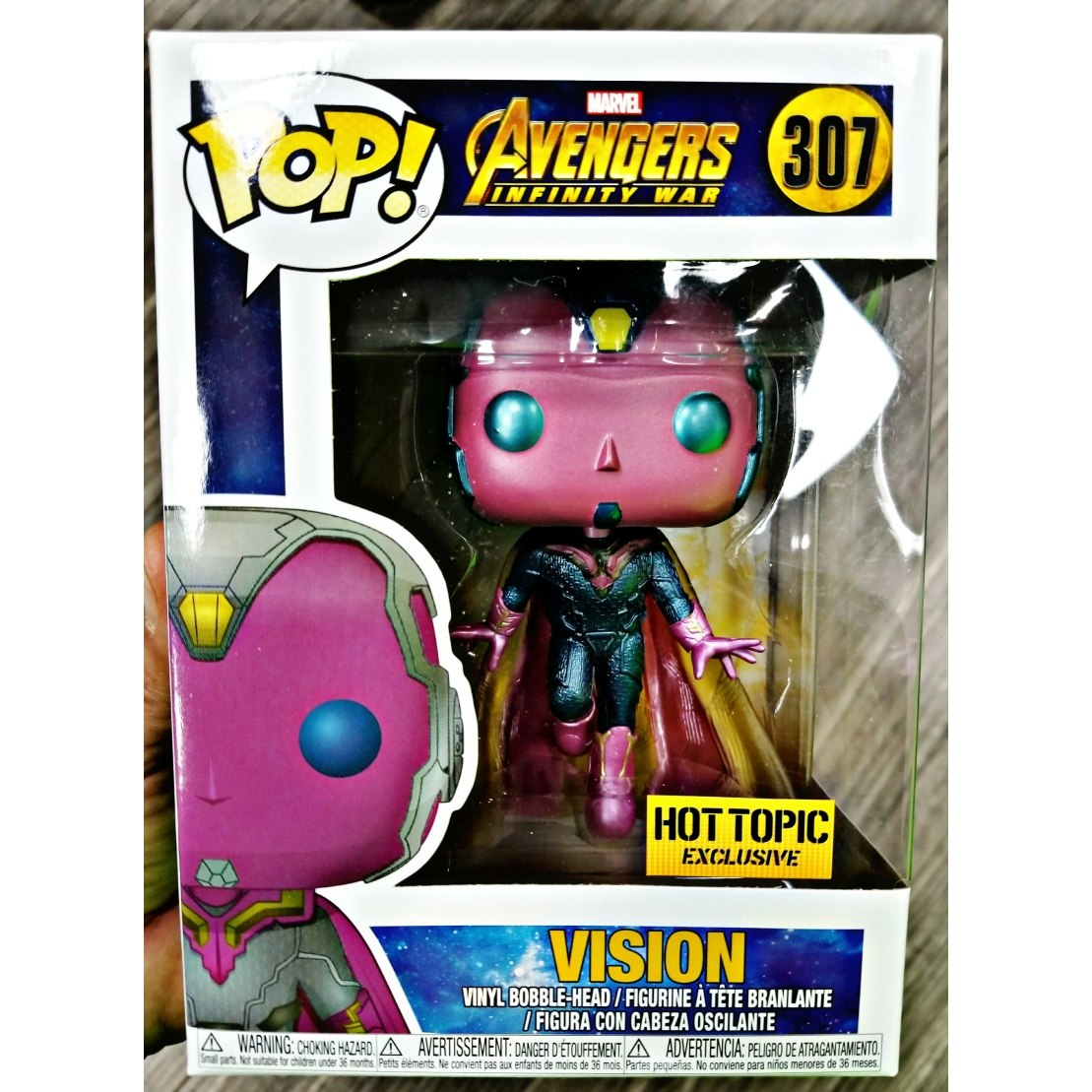 vision avengers infinity war funko pop 307 hot topic excl