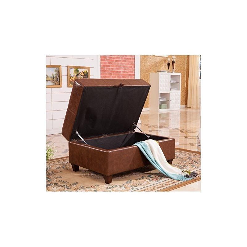 Magnífico Almacenamiento De Cuero Marrón Oscuro Muebles Otomana ...