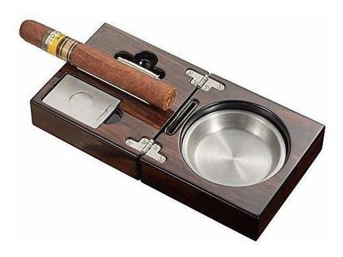 visol products - kit de cenicero de cigarro de nogal pulido