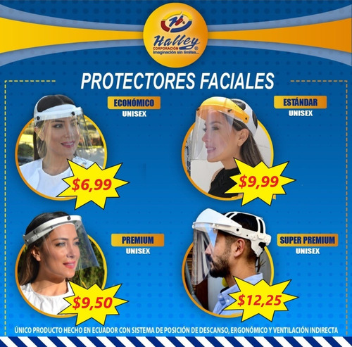 visores protectores faciales halley varios modelos