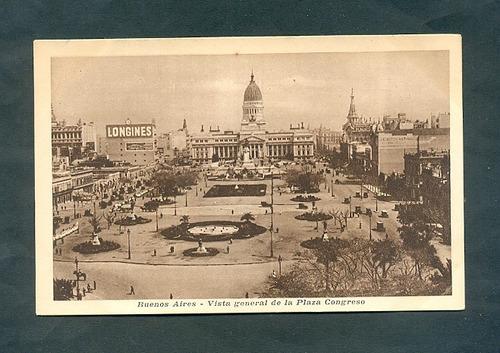 vista plaza del congreso  . antigua tarjeta postal .