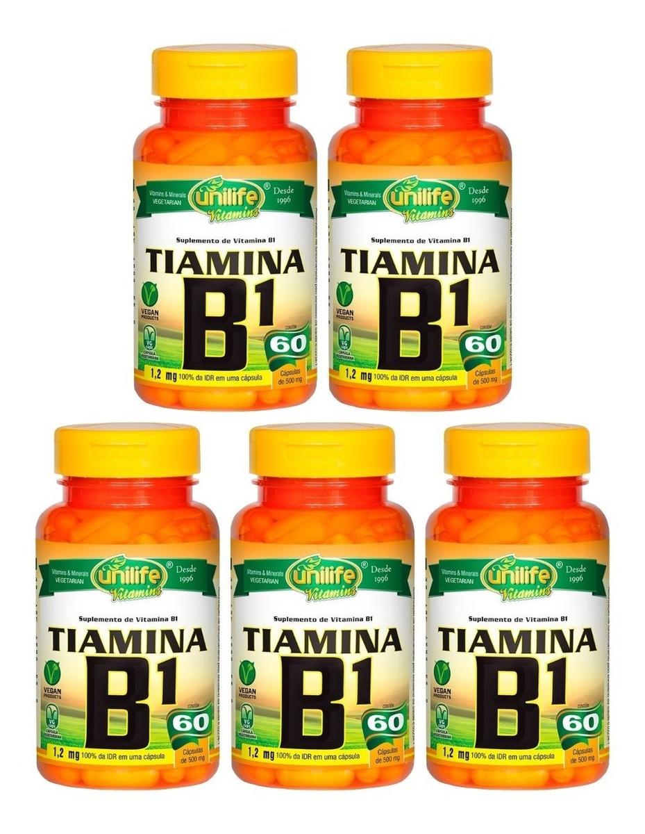 Vitamina B1 Tiamina 60 Cápsulas 500mg Unilife Kit 5 Unidades