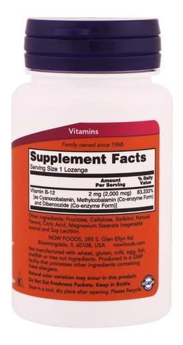 vitamina b12 2000mcg 100caps now foods original e u a