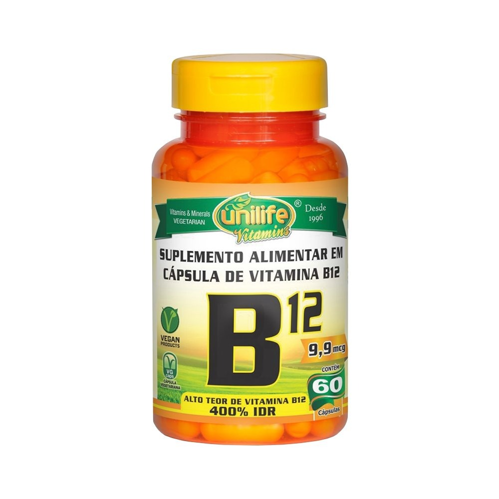 Vitamina B12 Cianocobalamina 60 Cápsulas Unilife