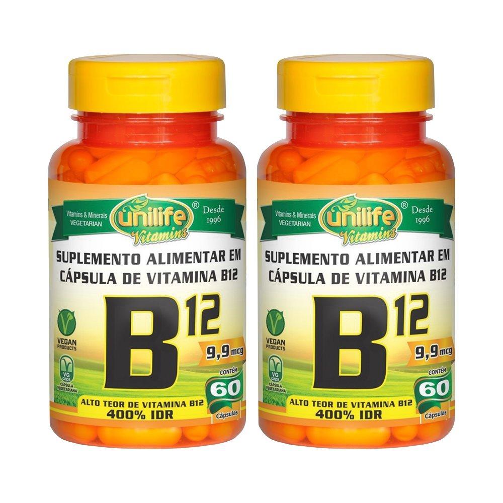 Vitamina B12 Cianocobalamina 60 Cápsulas Unilife Kit 2 Unidades
