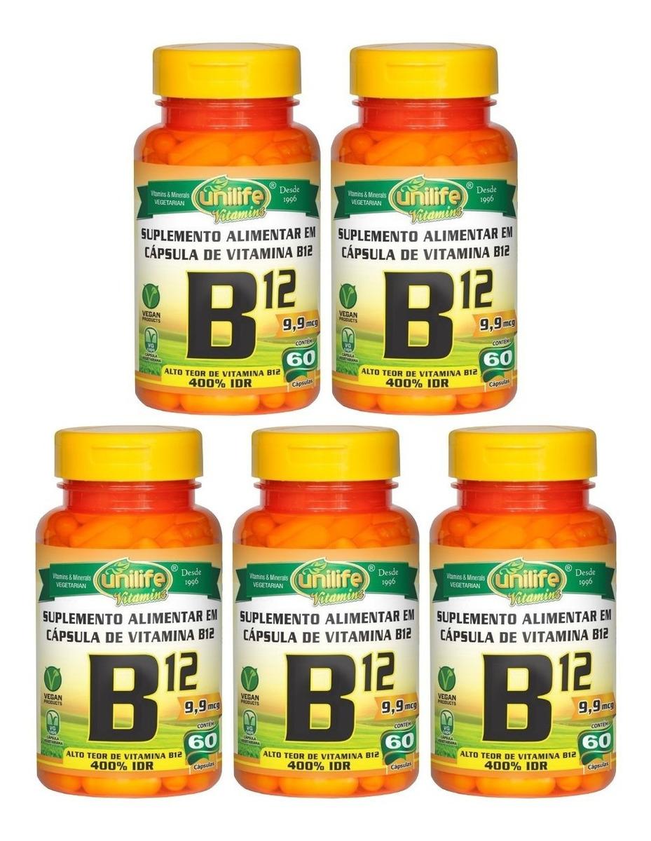 Vitamina B12 Cianocobalamina 60 Cápsulas 450mg Unilife Kit 5 Unidades